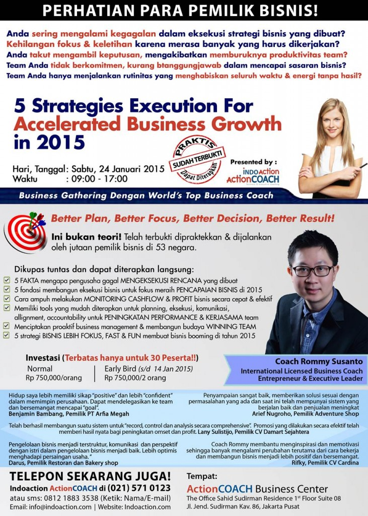 Business Gathering 24 Januari 2015 - Coach Rommy Susanto from Indoaction ActionCOACH